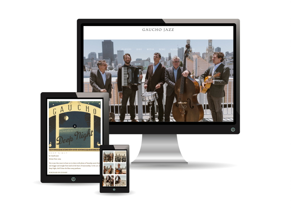 GAUCHO JAZZ | Website Design for Band - San Francisco based band, Gaucho Jazz, needed an overhaul of their site, branded social media accounts, and an email template. As a band, Gaucho uses it's site to promote their music. They needed to showcase their albums and musicians profiles, an Electronic Press Kit for the media, and a gig calendar. They asked Little Owl Design Studio to create a site and social media presence that reflected their vibe. Branded social media profiles were developed on Facebook, Instagram, Twitter, YouTube, SoundCloud, Spotify, and Google Plus, then connected to their site. On the Squarespace platform, we provided a photo-rich design, wrote copy, and implemented on-page SEO. In addition, MailChimp was integrated to capture email subscribers and a branded email template for their monthly newsletter was created.