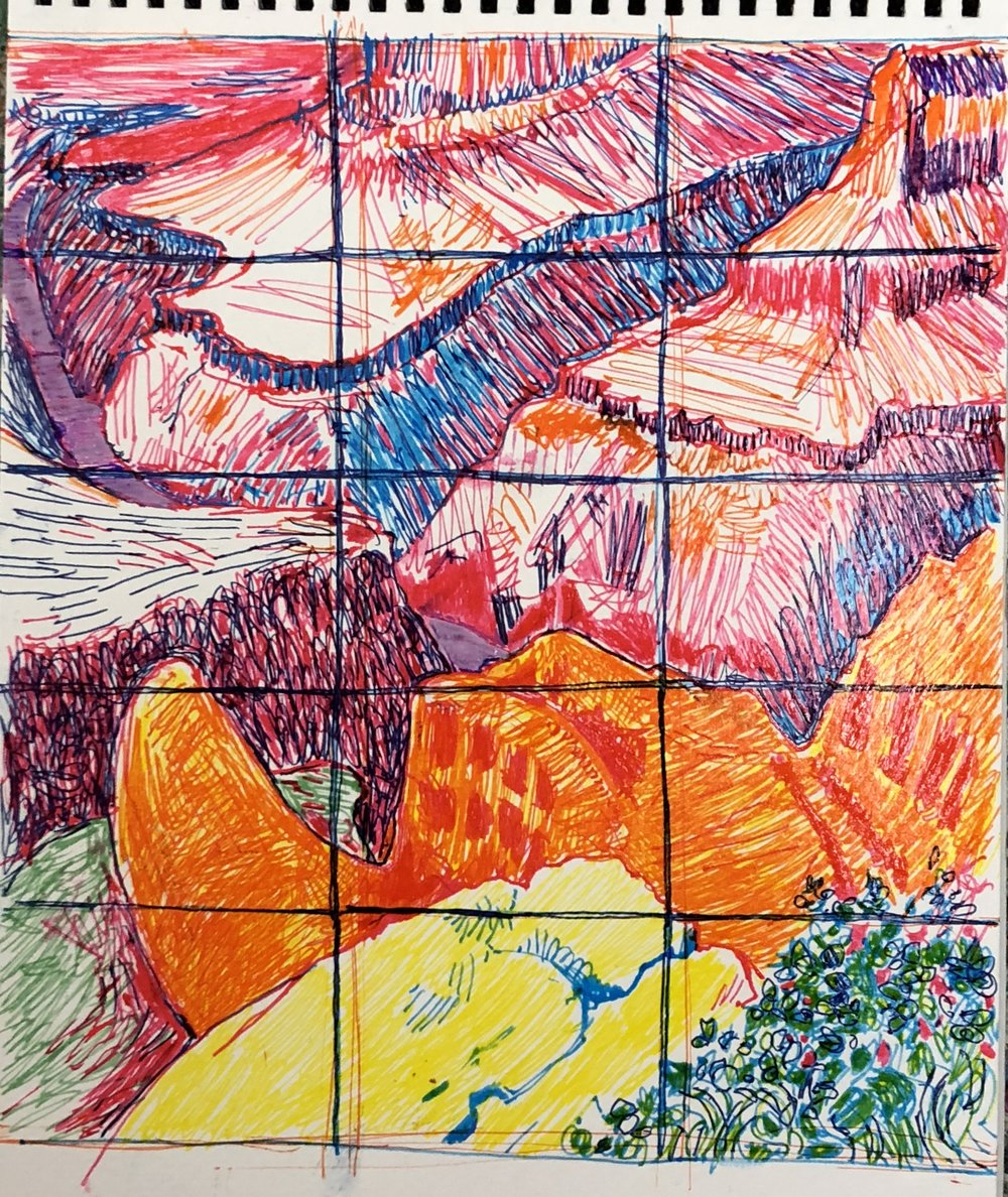 drawing of Hockney's Grand Canyon Painting (@ MET, NYC)