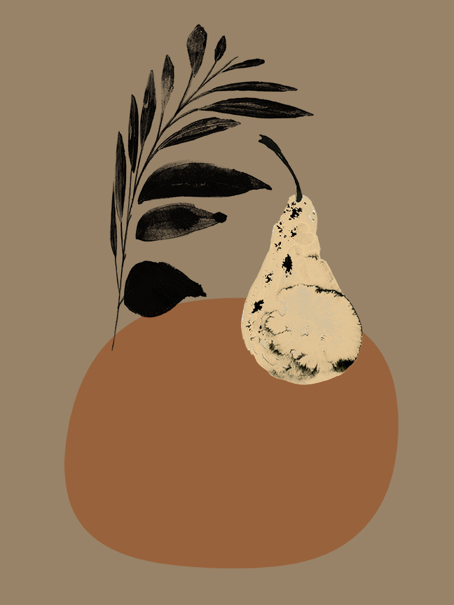 Pear   Ink, Silkscreen, Photoshop  2017,  Fruit Series