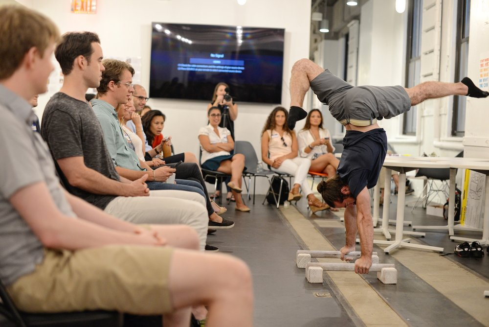 Chris performing a handstand at one of our sessions.