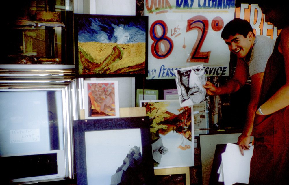 While in high school, Michael Malpass organized his own exhibit of paintings outside a store in Bronxville, NY.