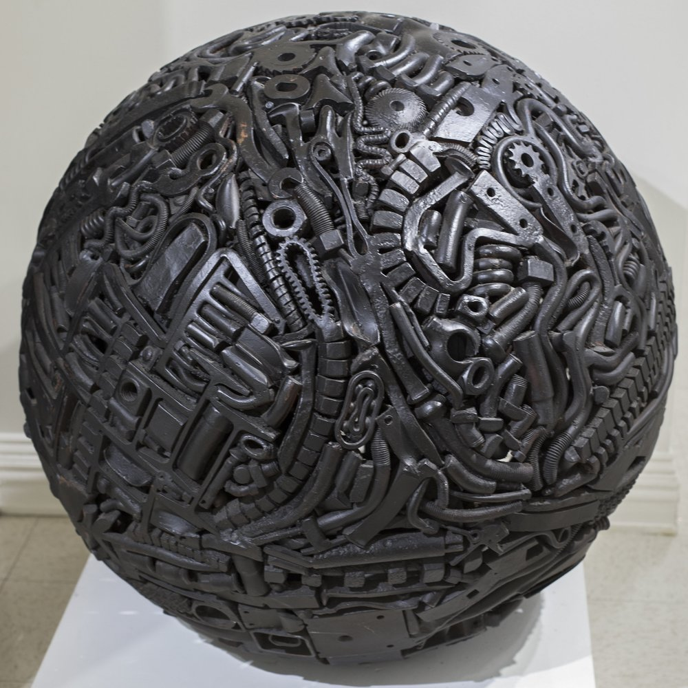 "SACHAQUEA by Michael Malpass, 1981. 36"" diameter forged and welded steel sphere. Grounds for Sculpture, Hamilton, NJ."