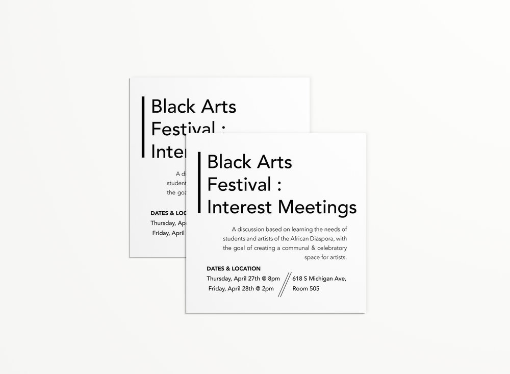 safe space promotional card for black arts festival interest meetings