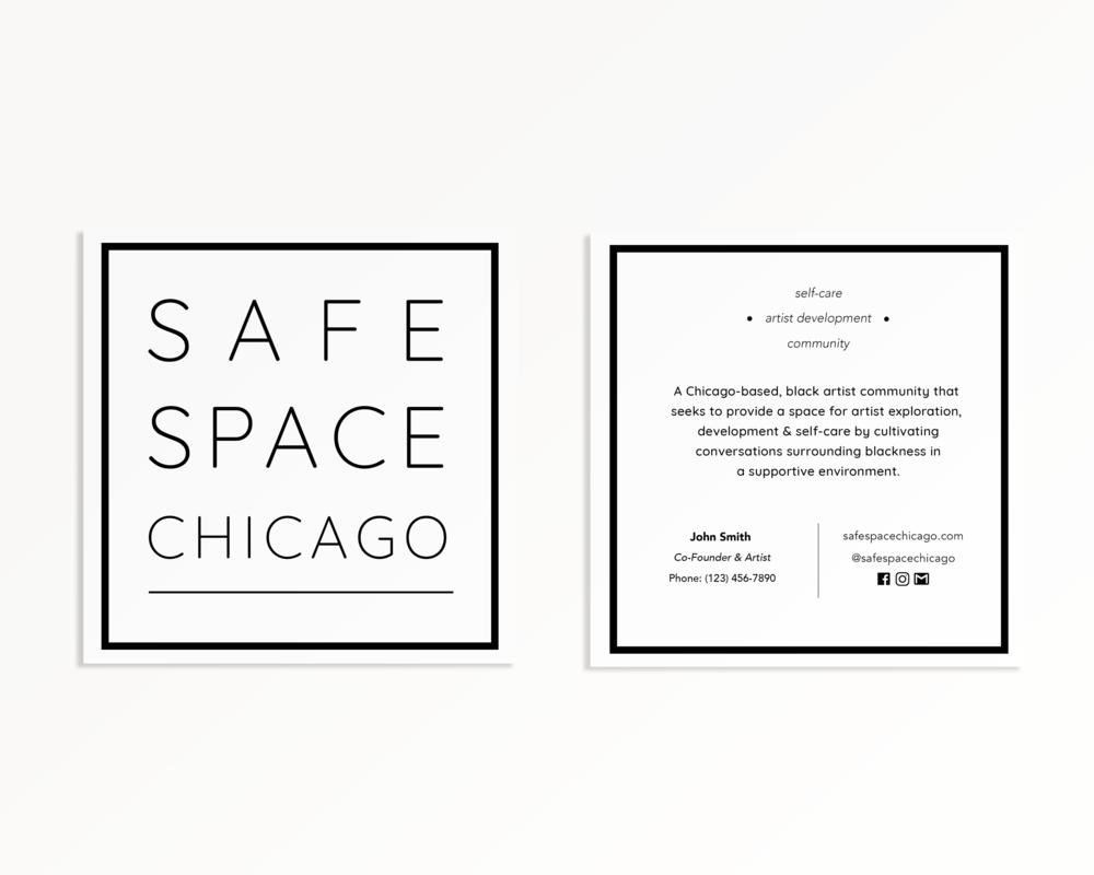 safe space chicago logo + business card design
