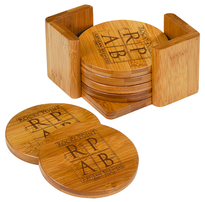 Bamboo coasters make an elegant gift when engraved with your corporate logo.  Call 512-415-0898 to find out how we can personalize your items today!