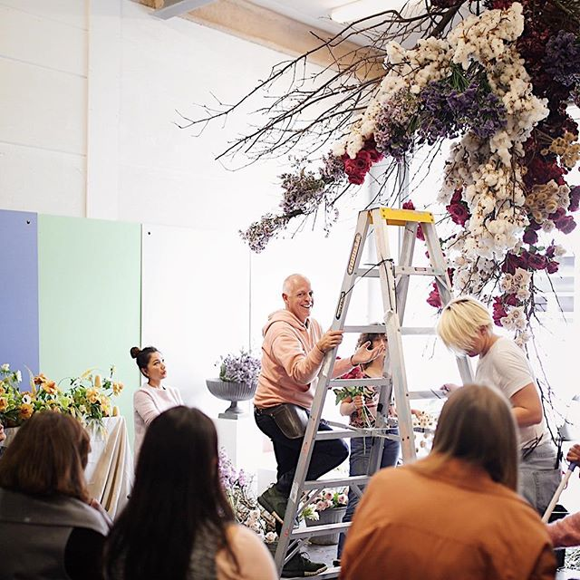 @mrcooktheflorist  creating magic in the ceiling for day one of our #floralmasterclasssydney