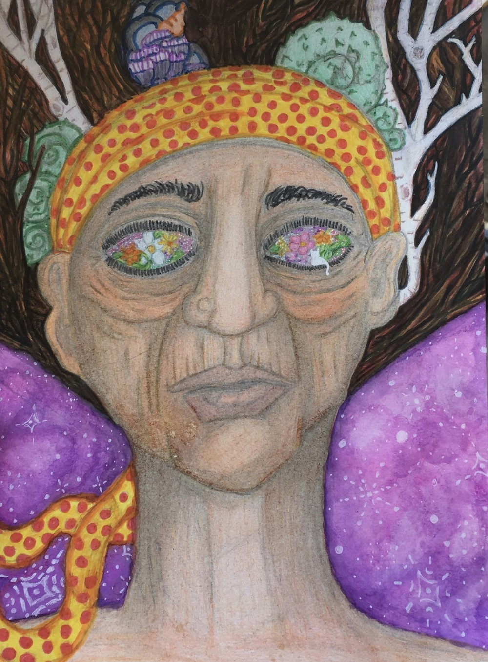 """""""Mezulda"""" Greg Buckheit: Colored Pencil and Watercolor on Paper (9""""x12"""")  Current Bid:"""