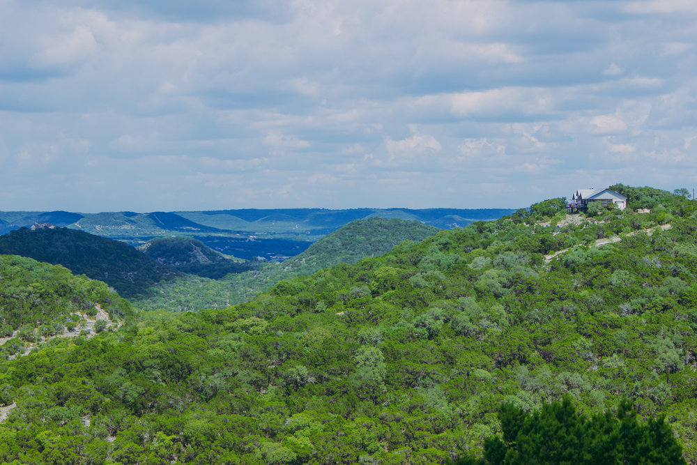 View from our Texas Hill Country Airbnb balcony in Texas Hill Country