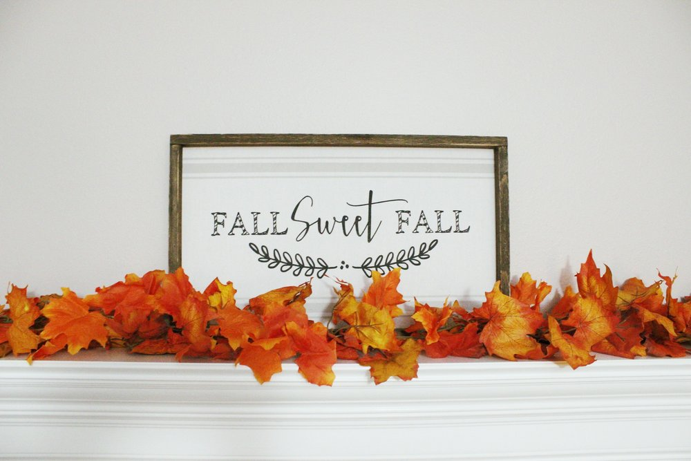 Mantle above the Fireplace with Fall Centerpiece