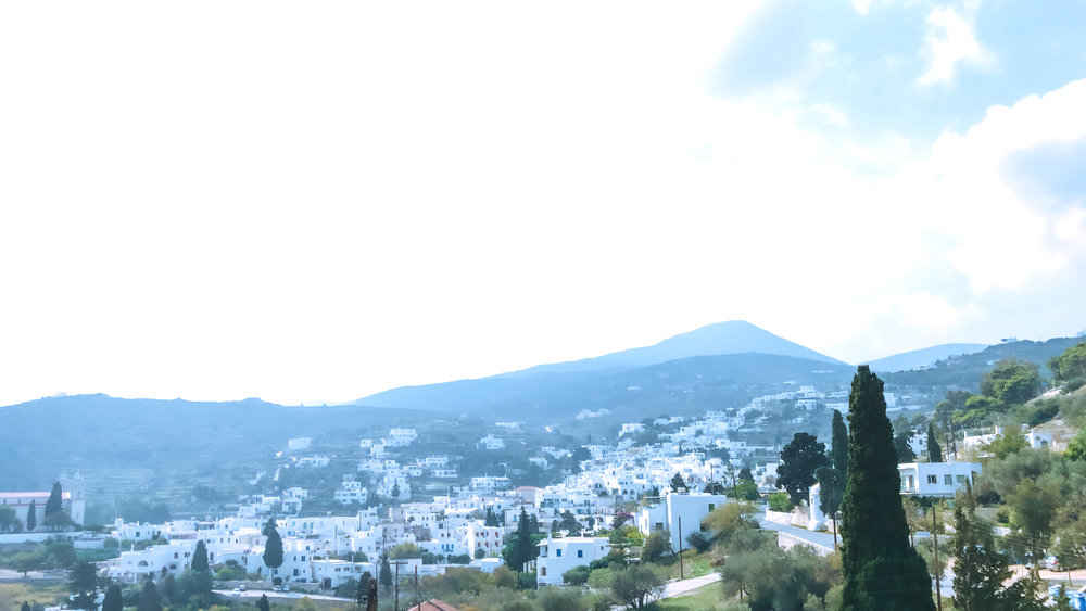 view of Lefkes- a mountain village on paros island, greece.
