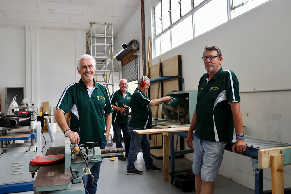 Paul Schiebaan (left) and Wayne Grant invite new members to get involved with Newcastle Men's Shed