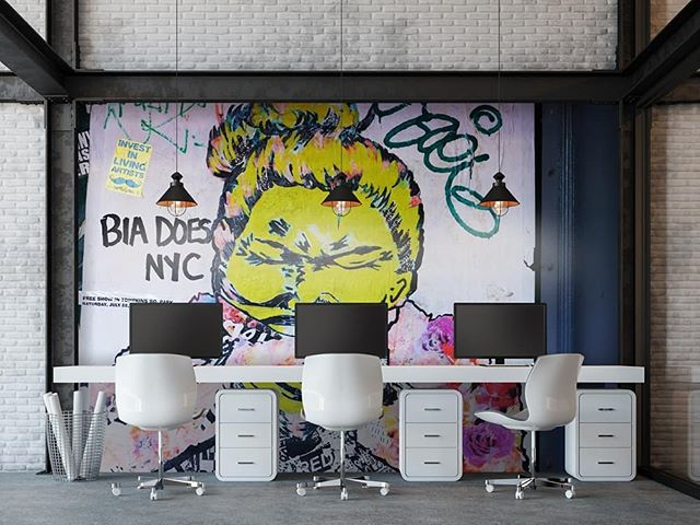 Change up your workspace with a striking piece like this one, found in Manhattan in 2017.  Swipe for the before photo.  #citglyph #wallpaper