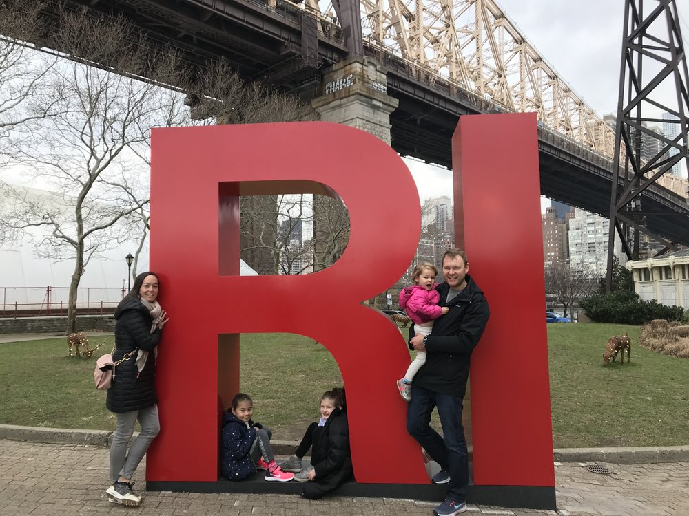 The author and her family on Roosevelt Island.