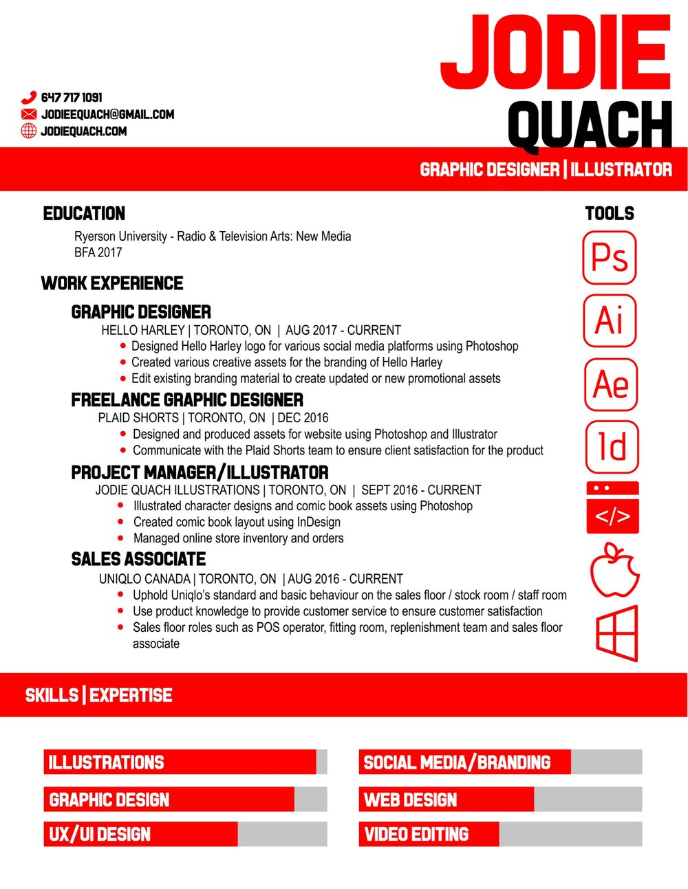 UNIQLO    This resume was created with the company's branding in mind. I wanted to create a resume that could be imagined as a flyer or handout by the company. I chose a simple, block typography for the title and headers  to keep the graphic simple and clean. I chose a simple sans serif typography to compliment the theme of simple lines and used their classic red to tie in the branding.
