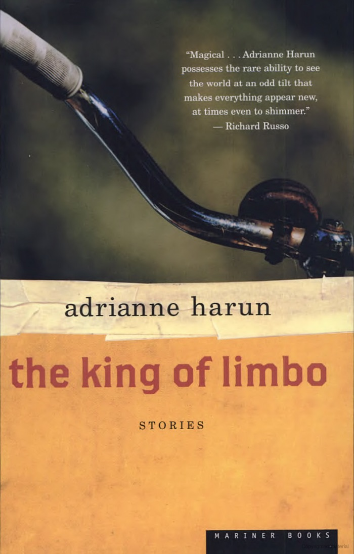 THE KING OF LIMBO                                                                        In stories that move deftly from the magical to the mundane, the simple to the surreal,  The King of Limbo  showcases a mature talent that calls to mind such greats as Alice Munro and Andre Dubus. Here are drifters, waitresses, horse trainers, housewives, a Nigerian foreign exchange student, a fisherman's wife, a cat with a cause. Blending magical realism and a pitch-perfect ear for the expressions of the human heart, Adrianne Harun presents a cast of unforgettable characters caught in limbo between their reality and their dreams.                                                                                                                                                                                                                               More Information       Buy Book