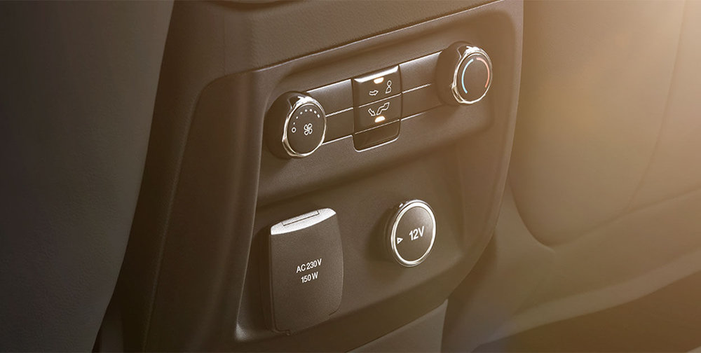 rear seat passengers control their own climate settings and have access to their own power outlets.