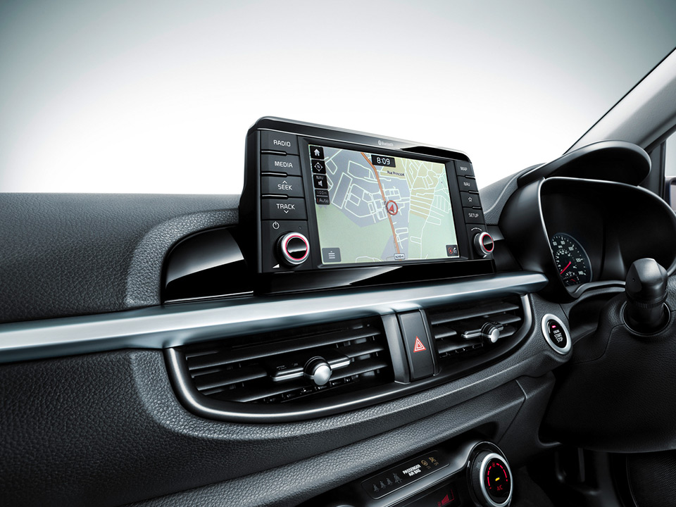 Navigation system with 7-inch floating touchscreen