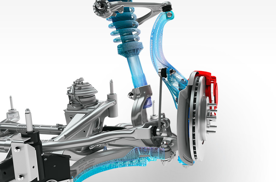 Sophisticated front and rear suspension systems