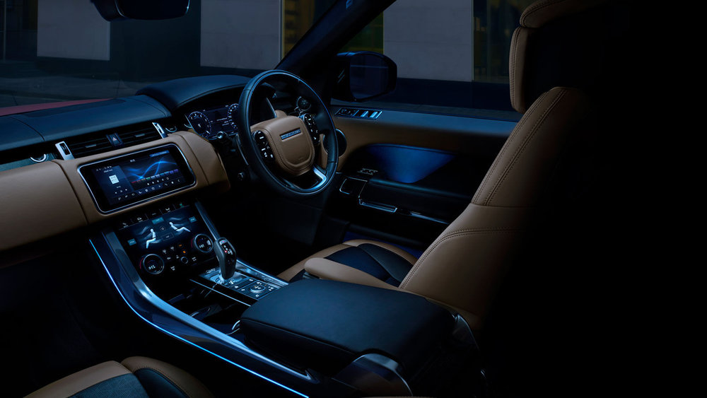 The optional Configurable Ambient Interior Lighting allows you to vary the colour and shade, changing the ambience of the cabin to suit your mood