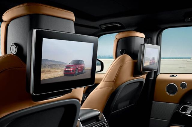 "The optional Rear Seat Entertainment system provides two 8"" screens built in to the rear of the front headrests or 10"" high-definition seat mounted articulating Touchscreens."