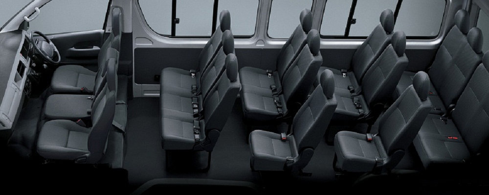 Comfortable seating arrangement (Front 1+2 | Rear 3+3+3+3)