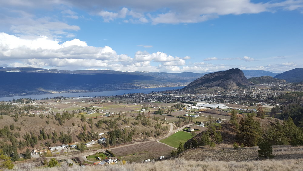 The view of Giant's Head Mountain and the town of Summerland, BC from Cartwright Mountain.