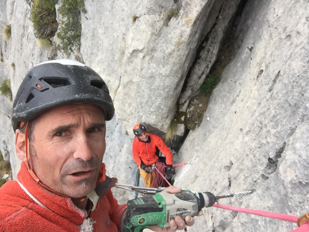 Laurent doing the hard work of opening new routes with his friend.