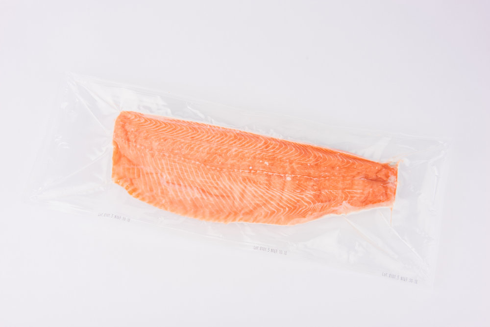 Whole frozen fillet (IQF)   A-E trim, boneless, Individually vacuum packed (IVP), individually quick-frozen (IQF), graded sizes