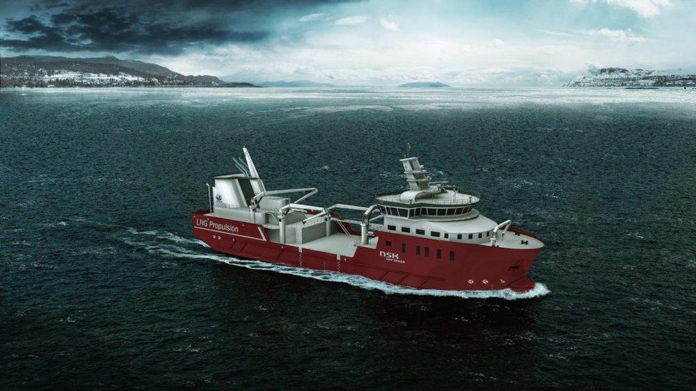 NSK Ship Design sitt nye brønnbåtdesign. Illustrasjon: NSK Ship Design