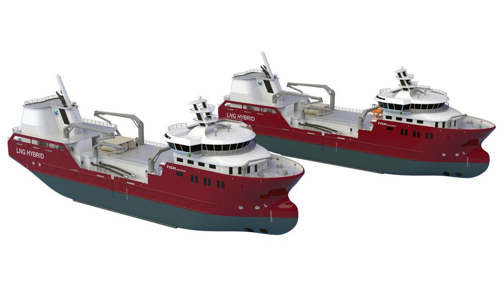 Nordlaks sine to kommende brønnbåter. Illustrasjon: NSK Ship Design