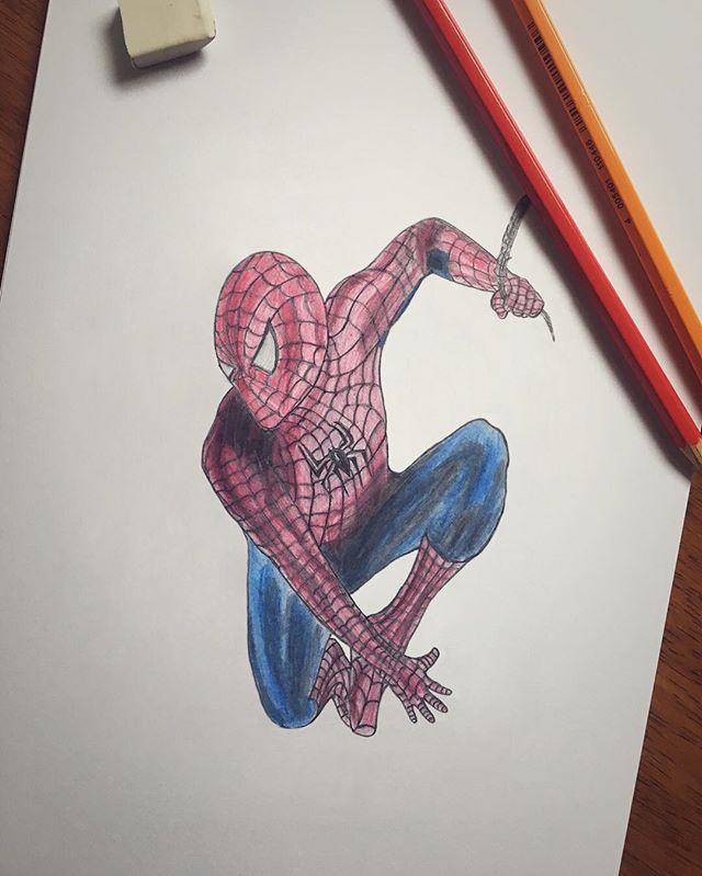 Spidey #spiderman #handmade #drawing #pencil #red #blue #marvel #superhero #webslinger #analog #sketching