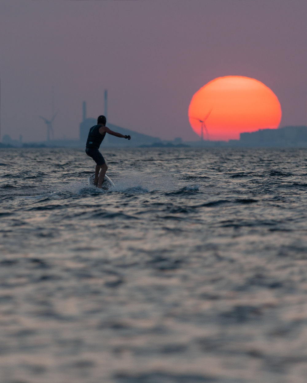 Electric surfboard in the sunset