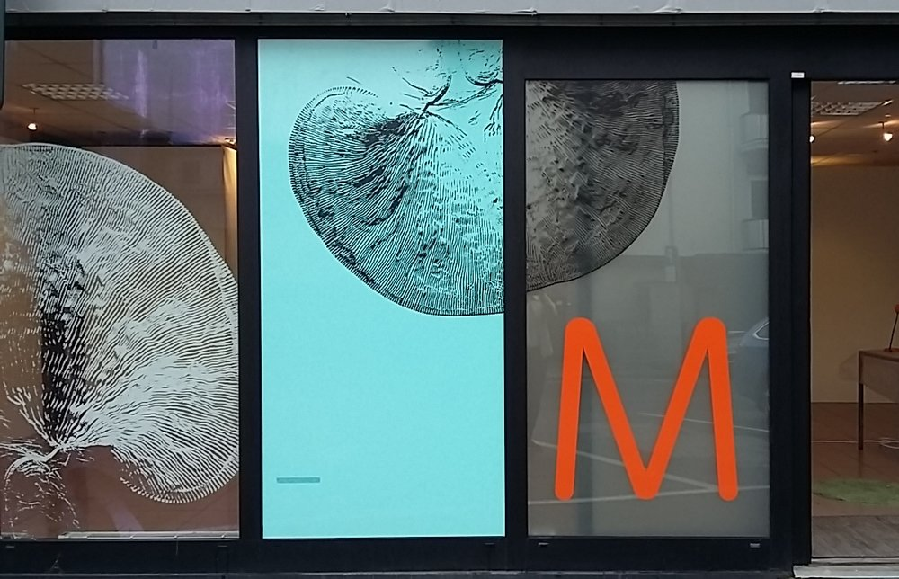 Foil mounted on the glass surface of the studio facade. The body of a microscopic organism enlarged and digitally processed.