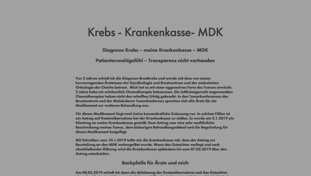 Brustkrebs & Krankenkasse & MDK - Fragen über Fragen … Antworten ohne AntwortenWie geht es weiter?