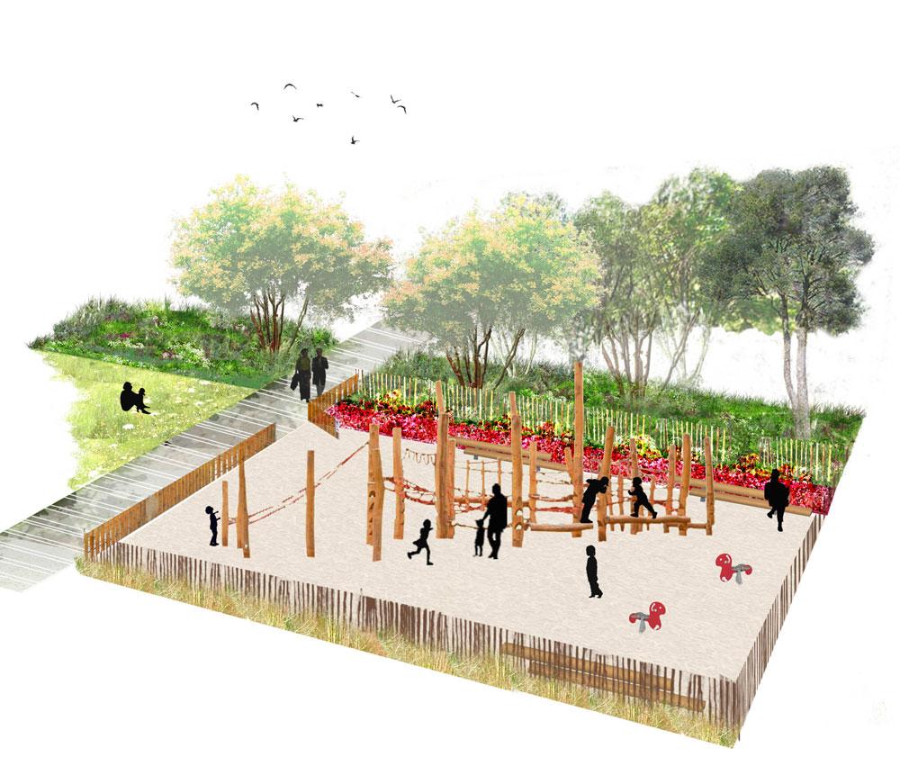 Place et parc Suchetet   Concours realisé avec l'agence HYL, pour l'aménagement d'un parc et d'une place autour du nouveau gymnase de la ville de Caudebec -les-Elbeuf (France)