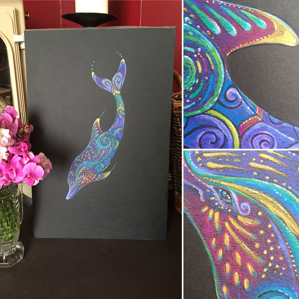 Dolphin Totem was created with Prismacolor pencils on Strathmore Artagain paper
