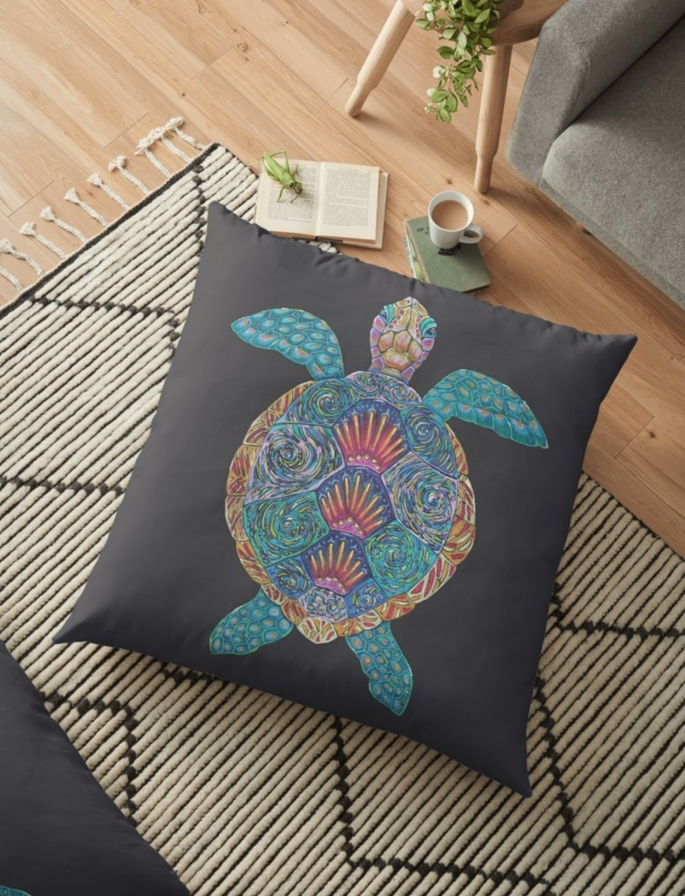 Turtle Totem available on home decor items on Redbubble