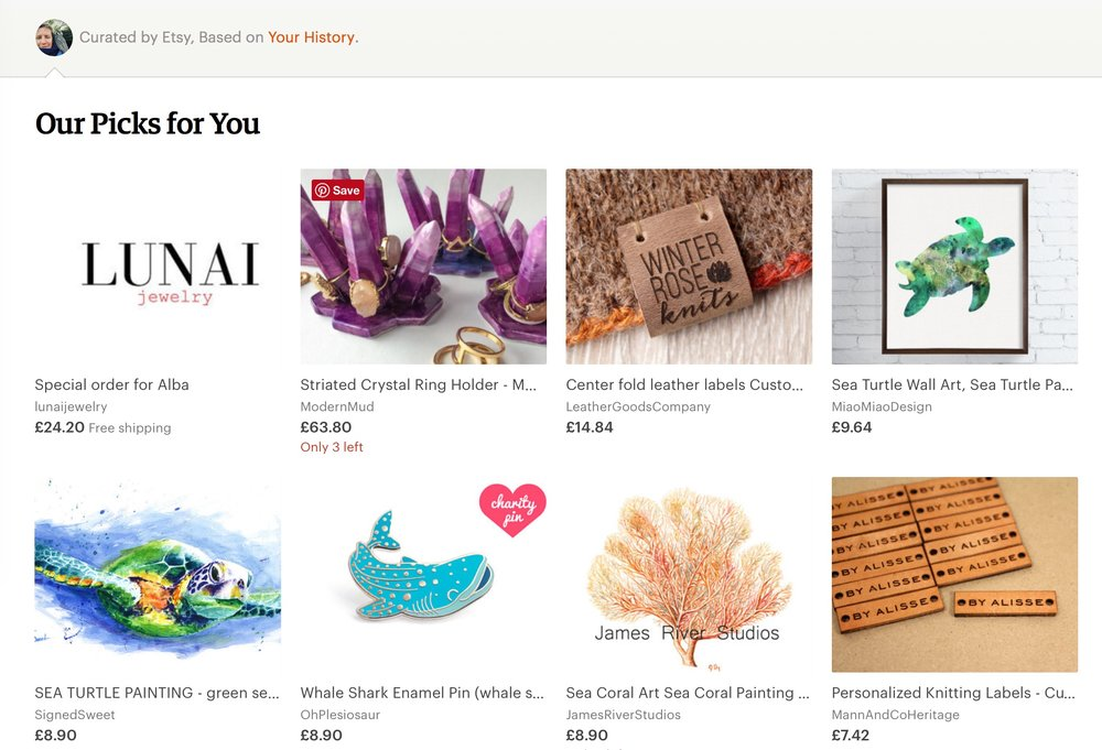 The Etsy home page has sections dedicated to similar items that you might like as well as recent creations by your favourite shops.