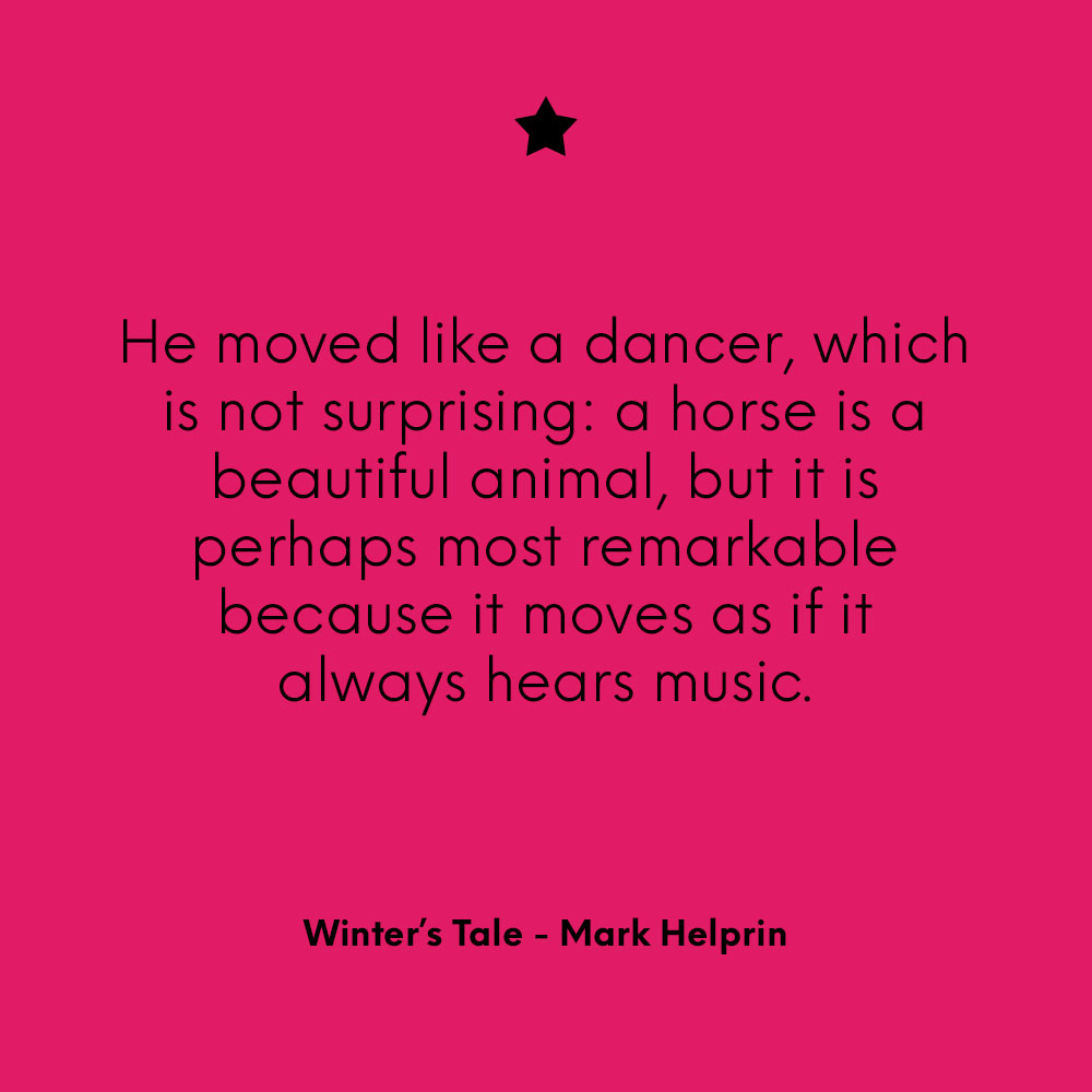 """He moved like a dancer, which is not surprising: a horse is a beautiful animal, but it is perhaps most remarkable because it moves as if it always hears music."" ~ Winter's Tale - Mark Helprin"