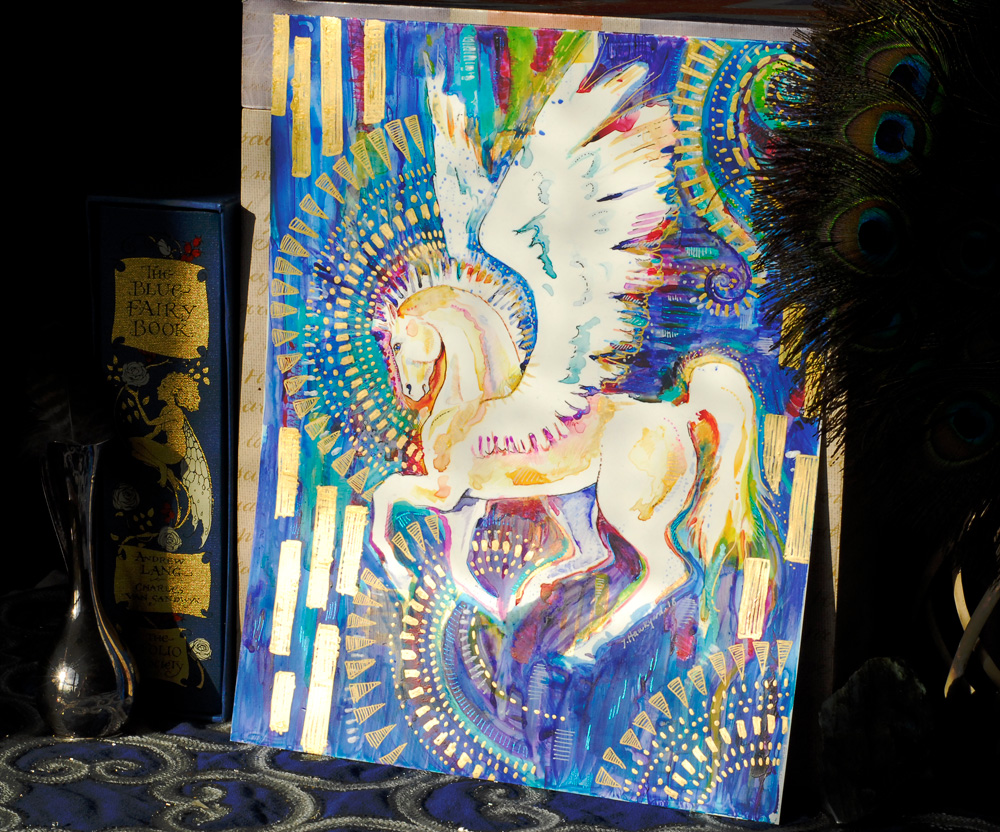 Pegasus - Original Mixed Media Art by Jennifer Hawkyard