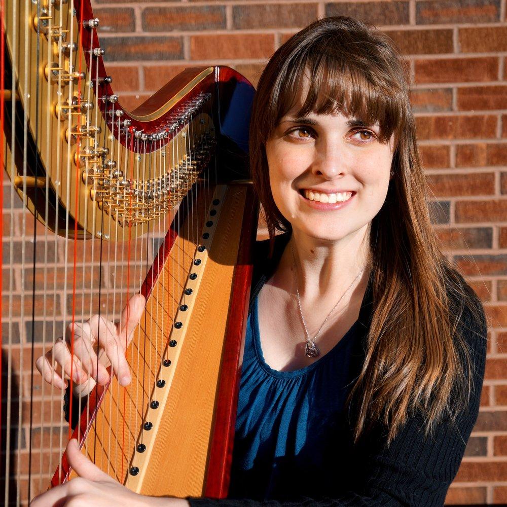 Olivia Hitt Rocket City Harpist playing her Camac Athena Harp