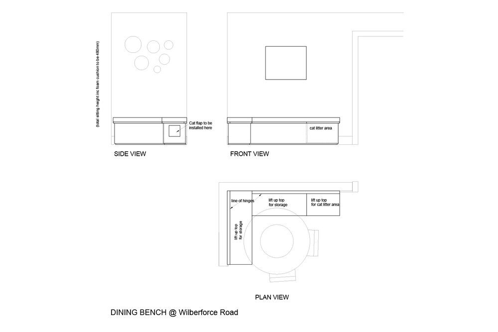 Dining bench technical drawings