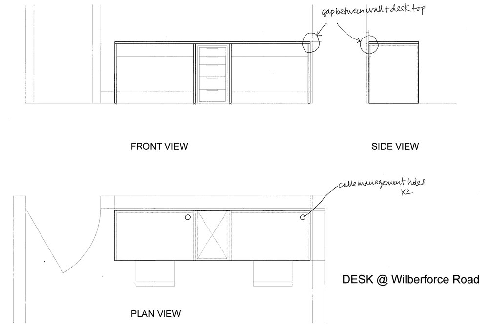 Desk - technical drawings