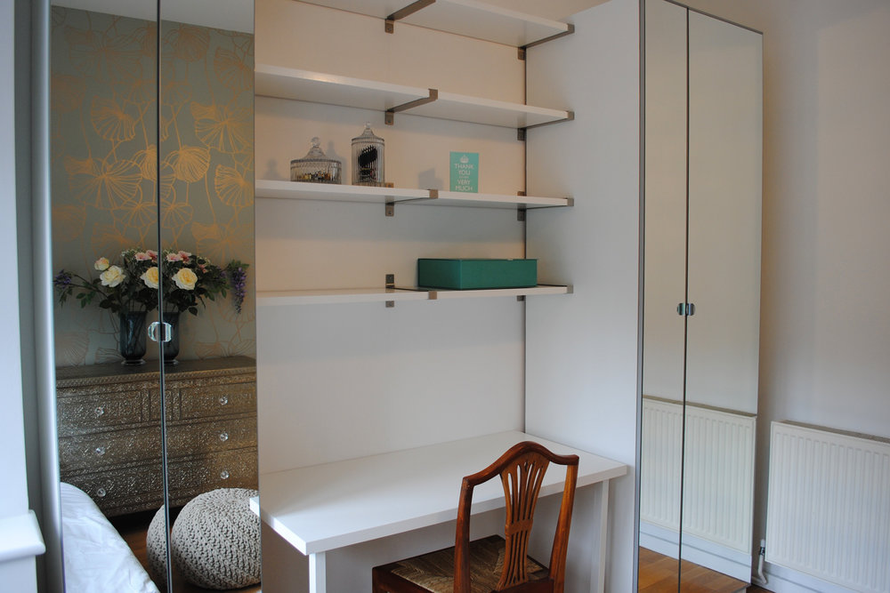 Wardrobes, shelves & desk from IKEA  Find out more…