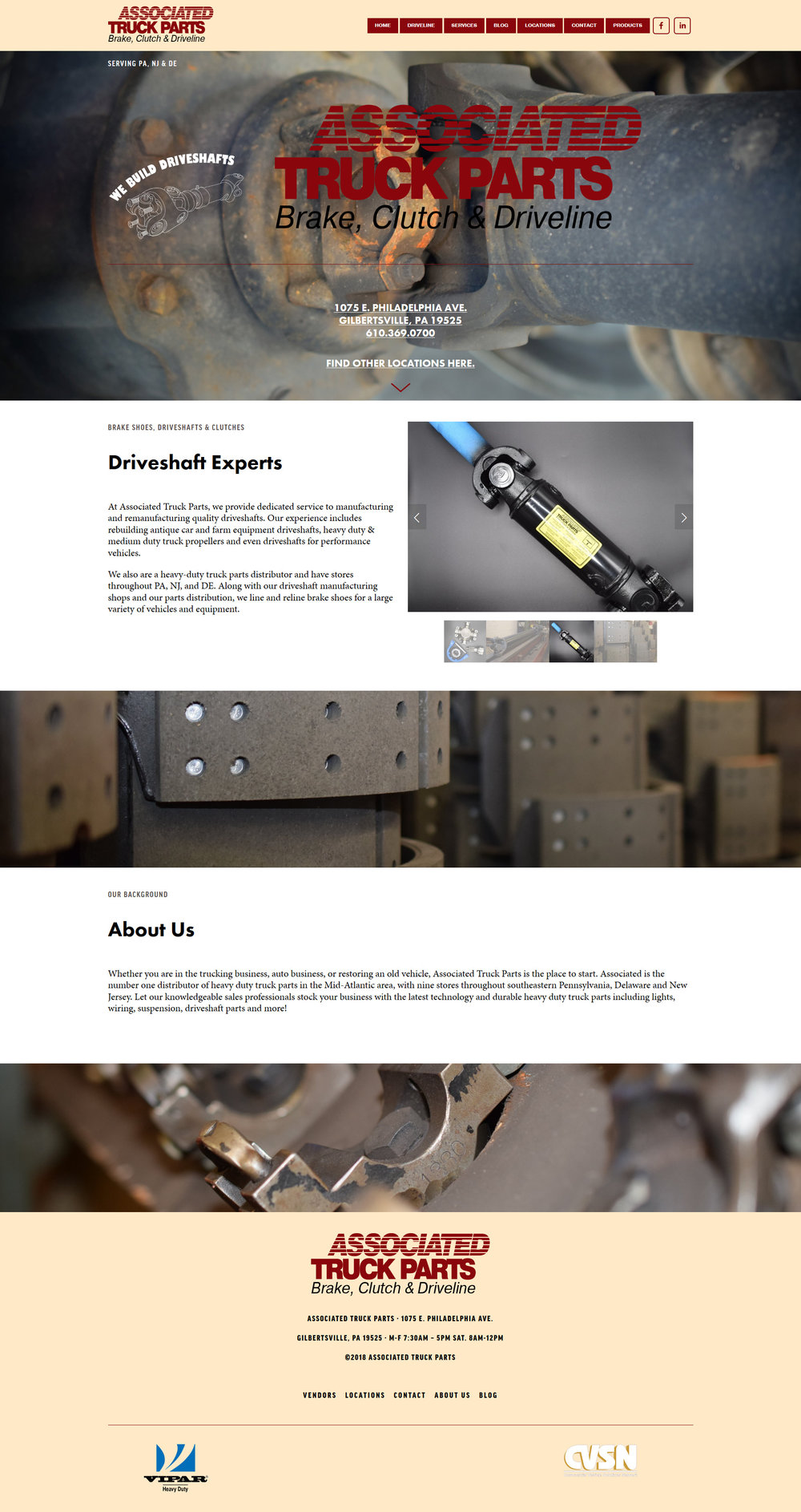 Screenshot of Associated Truck Parts' website