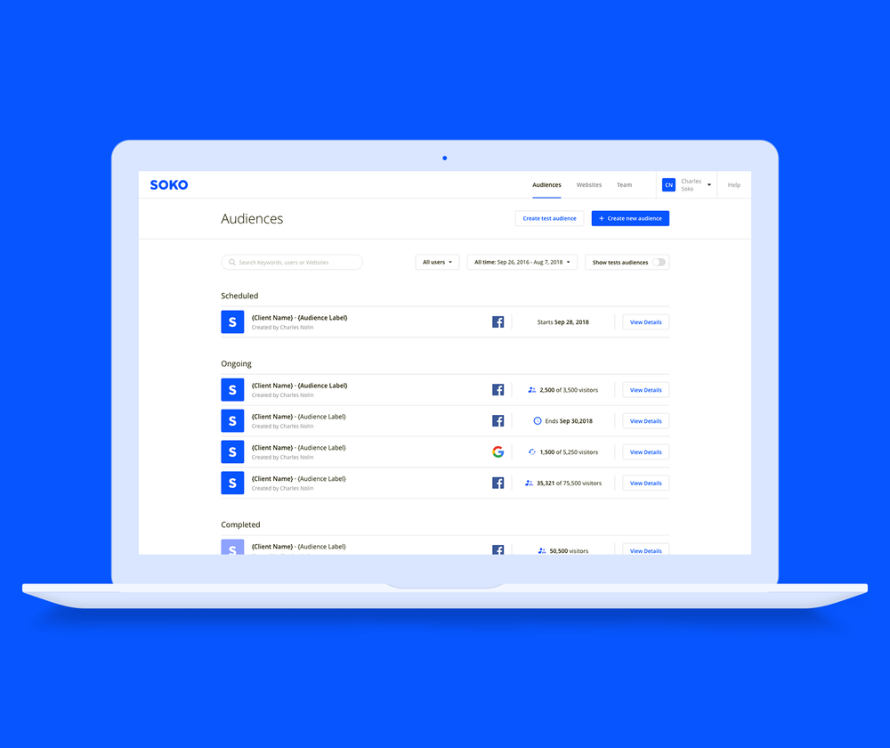 Perfect for yoursales team - Soko makes your audience portable so that your direct sales team can sell it, not only on your own properties, but wherever advertisers are running their campaigns, including on Facebook and Google.