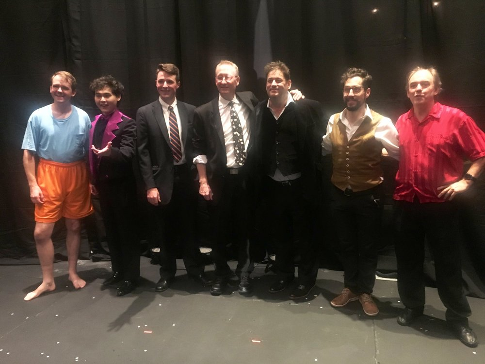 SAM 2018 Contestants, left to right: The Amazing Barry, Jeremy Mikaelson (high score winner), Ryan Lally, John Dahlinger, Merritt Ambrose, Raul Adatti (second high score winner and people's choice award winner), and MC Alan Howard. Photography copyright: Chloe Olewitz.