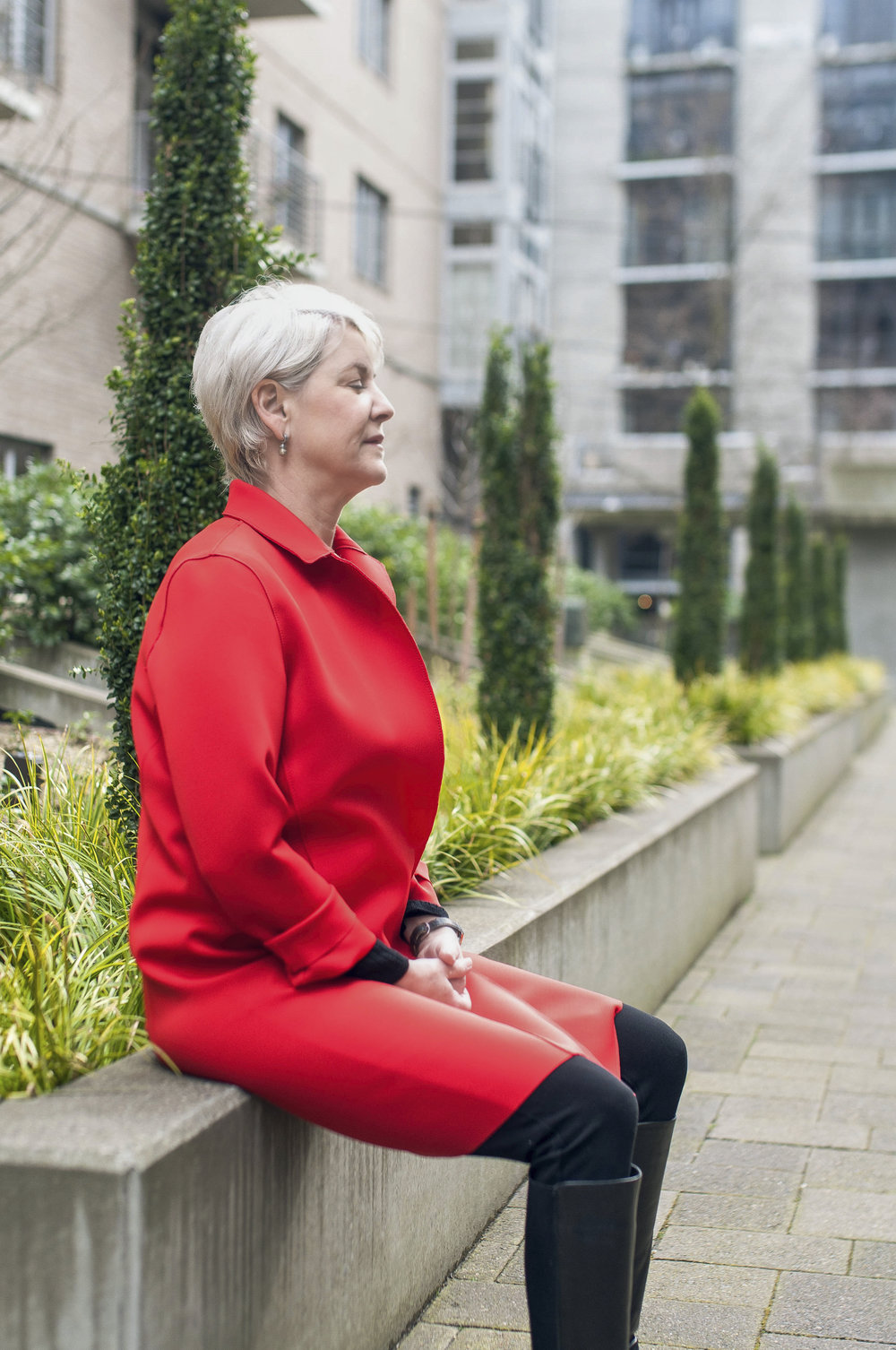 Suzanne Bigelow Breathing Meditation in Red Jacket