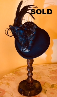 Navy Robin Hood with black pheasant feathers - £130.00