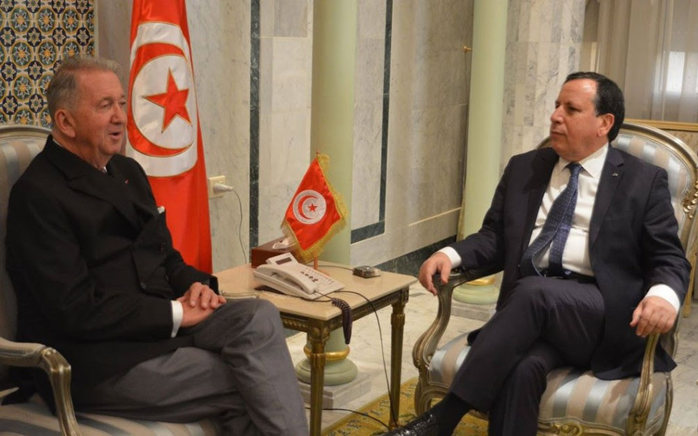Tunisian Minister of Foreign Affairs Mr. Khemaies Jhinaoui met on January 16, 2018 in Tunis with the President of the International Peace Institute (IPI) Mr. Terje Roed-Larsea.  The meeting focused on the activities and programs of action of the IPI for the next period, notably as regards the settlement of conflicts between States and the strengthening of organisations active in fields of peace and security in the world.  The talk was also an opportunity to discuss a number of regional and international issues as well as the development of the situation in the Middle East, 25 years after the Oslo agreement.  The two interlocutors also discussed the prospects of cooperation between the Ministry of Foreign Affairs and the IPI particularly in the field of studies and training.